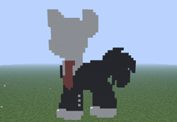Size: 1024x705 | Tagged: safe, artist:artsy46, oc, oc:slenderman, earth pony, pony, clothes, grass, male, minecraft, minecraft pixel art, necktie, no face, photo, pixel art, suit