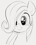 Size: 406x507 | Tagged: safe, artist:dotkwa, fluttershy, pegasus, pony, bust, cute, female, filly, filly fluttershy, hair over one eye, monochrome, portrait, shyabetes, simple background, smiling, solo, white background, younger