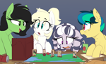 Size: 1330x805 | Tagged: safe, artist:shinodage, oc, oc only, oc:apogee, oc:filly anon, oc:luftkrieg, oc:zala, earth pony, pegasus, pony, zebra, dungeons and dragons, female, filly, freckles, pen and paper rpg, playing, rpg, zebra oc