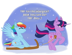 Size: 1280x985 | Tagged: safe, artist:koloredkat, edit, rainbow dash, twilight sparkle, alicorn, pegasus, pony, chest fluff, ear fluff, eyes closed, eyes on the prize, female, harness, lesbian, mare, pulling, running, shipping, sled, sledding, smiling, snow, spread wings, tack, twidash, twilight sparkle (alicorn), wings