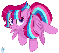 Size: 961x875 | Tagged: safe, artist:rainbow eevee, oc, oc:bubble sparkle, alicorn, alicorn oc, cute, female, flying, looking at you, magical lesbian spawn, multiple parents, next generation, offspring, parent:glitter drops, parent:spring rain, parent:tempest shadow, parent:twilight sparkle, parents:glittershadow, parents:sprglitemplight, parents:springdrops, parents:springshadow, parents:springshadowdrops, simple background, solo, spread wings, transparent background, vector, wings