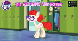 Size: 960x504 | Tagged: safe, twist, earth pony, pony, the last problem, spoiler:s09e26, canterlot high, cap, facebook, female, gameloft, glasses, hat, lidded eyes, looking at you, mare, my little pony logo, older twist, smiling, solo