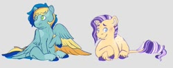 Size: 1280x506 | Tagged: safe, artist:lightwolfheart, oc, oc:apple stem, oc:apple sweet, earth pony, pegasus, pony, colored wings, colt, half-siblings, magical lesbian spawn, male, multicolored wings, offspring, parent:applejack, parent:rarity, parents:rarijack, prone, wings
