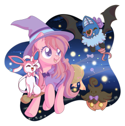 Size: 2163x2170 | Tagged: safe, artist:musicfirewind, oc, oc:sweet haze, earth pony, broom, candy, clothes, costume, crossover, cute, food, halloween, halloween costume, holiday, lollipop, pokémon, simple background, transparent background, witch, ych result