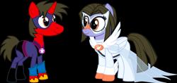 Size: 2458x1161 | Tagged: safe, artist:shadymeadow, oc, oc only, oc:dancing fan, oc:fried egg, pegasus, pony, unicorn, female, male, mare, simple background, stallion, transparent background