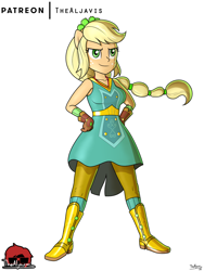 Size: 750x1000 | Tagged: safe, artist:thealjavis, applejack, equestria girls, equestria girls series, holidays unwrapped, spoiler:eqg series (season 2), crystal guardian, ponied up, simple background, solo, white background, winter break-in
