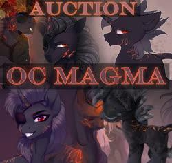 Size: 1137x1080 | Tagged: safe, artist:kuroran, oc, oc only, oc:magma, unicorn, advertisement, auction, solo