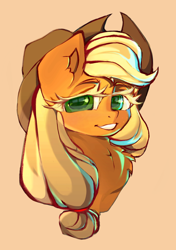 Size: 1234x1752 | Tagged: safe, artist:haokan, applejack, earth pony, pony, bust, colored eyelashes, cute, female, jackabetes, looking at you, mare, portrait, simple background, smiling, solo