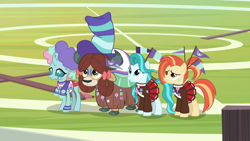 Size: 1920x1080 | Tagged: safe, screencap, lighthoof, ocellus, shimmy shake, yona, changedling, changeling, earth pony, pony, yak, 2 4 6 greaaat, spoiler:s09e15, bow, buckball field, cheerleader outfit, clothes, cloven hooves, female, hair bow, hat, monkey swings, wig