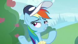 Size: 1920x1080 | Tagged: safe, screencap, rainbow dash, pegasus, pony, 2 4 6 greaaat, spoiler:s09e15, apple, apple tree, cap, female, food, hat, mare, popcorn, solo, tree