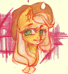 Size: 2023x2175 | Tagged: safe, artist:haokan, applejack, earth pony, pony, bust, cute, female, looking at you, mare, pencil drawing, portrait, simple background, smiling, solo, traditional art