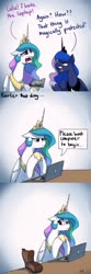 Size: 1200x3600 | Tagged: safe, artist:anticular, princess celestia, princess luna, alicorn, pony, ask sunshine and moonbeams, comic, computer, crying, dialogue, duo, literal minded, royal sisters, sillestia, silly