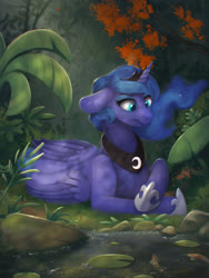 Size: 3000x4000 | Tagged: safe, artist:blackligerth, princess luna, alicorn, fish, pony, digital art, ethereal mane, female, floppy ears, forest, grass, hoof shoes, lilypad, mare, peytral, prone, rock, solo, starry mane, tree, vegetation, water