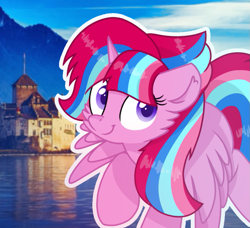 Size: 961x875 | Tagged: safe, artist:rainbow eevee, oc, oc only, oc:bubble sparkle, beautiful, building, flying, icon, lake, looking at you, magical lesbian spawn, offspring, parent:glitter drops, parent:spring rain, parent:tempest shadow, parent:twilight sparkle, parents:glittershadow, parents:sprglitemplight, parents:springdrops, parents:springshadow, smiling, solo, switzerland