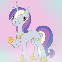 Size: 500x500 | Tagged: safe, lyra heartstrings, princess cadance, oc, pony, unicorn, commissioner:bigonionbean, cutie mark, female, fusion, hoof shoes, jewelry, mare, regalia, solo, writer:bigonionbean