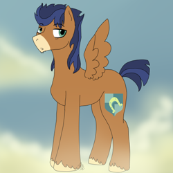 Size: 500x500 | Tagged: safe, flash sentry, trouble shoes, oc, oc only, clydesdale, earth pony, pegasus, pony, commissioner:bigonionbean, cutie mark, fusion, male, stallion, stubble, writer:bigonionbean