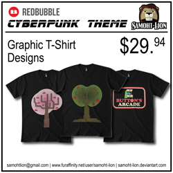 Size: 3300x3300 | Tagged: safe, artist:samoht-lion, oc, big cat, lion, apple, apple tree, arcade, bust, furry oc, implied button mash, no pony, t shirt design, tree