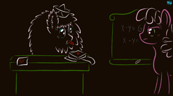 Size: 800x444 | Tagged: safe, artist:quint-t-w, cheerilee, oc, oc:fluffle puff, earth pony, original species, pony, chalk, chalkboard, crayon, desk, gradient background, hat, looking at each other, math, old art, paper, paper hat