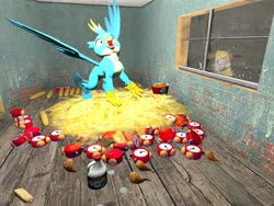 Size: 1024x768 | Tagged: safe, artist:horsesplease, gallus, bird, chicken, 3d, alarm clock, angry, bleach, clock, corn, crowing, food, gallus the rooster, gmod, griffons doing griffon things, kfc, nest, star butterfly, star vs the forces of evil