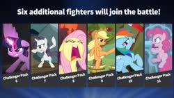 Size: 902x507 | Tagged: safe, artist:techycutie, edit, edited screencap, screencap, applejack, fluttershy, pinkie pie, rainbow dash, rarity, tom, twilight sparkle, alicorn, earth pony, pegasus, pony, unicorn, my little pony: the movie, the ending of the end, spoiler:s09e25, apple, apple tree, axe, fighting stance, kick, magic, meme, party bazooka, party cannon, screaming, smash bros ultimate, tree, twilight sparkle (alicorn), weapon