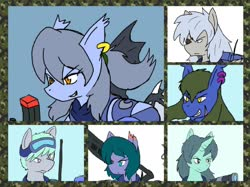 Size: 1921x1440 | Tagged: safe, artist:omegapony16, oc, oc only, oc:oriponi, bat pony, earth pony, pegasus, pony, unicorn, armor, bat pony oc, ear piercing, earring, eyepatch, female, frown, goggles, grin, gun, jewelry, male, mare, piercing, scar, smiling, soldier, stallion, weapon