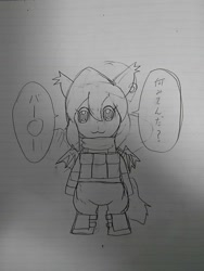 Size: 1080x1440 | Tagged: safe, artist:omegapony16, oc, oc only, oc:oriponi, bat pony, pony, armor, bat pony oc, bipedal, clothes, ear piercing, earring, female, irl, japanese, jewelry, lineart, lined paper, mare, monochrome, photo, piercing, pop team epic, shadow, smiling, solo, speech, traditional art, vest