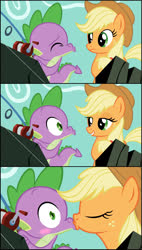 Size: 1240x2180 | Tagged: safe, artist:culu-bluebeaver, applejack, spike, dragon, earth pony, pony, a dog and pony show, alternate scenario, applespike, blushing, comic, eyes closed, female, fishing rod, kissing, looking at each other, male, puckered lips, shipping, straight, wide eyes