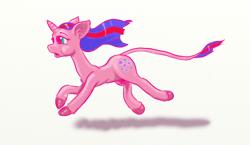 Size: 1550x900 | Tagged: safe, artist:capt_hairball, oc, oc:bullet curtain, classical unicorn, pony, unicorn, cloven hooves, female, hair stripe, horn, leonine tail, mare, running, simple background, solo, unshorn fetlocks, white background