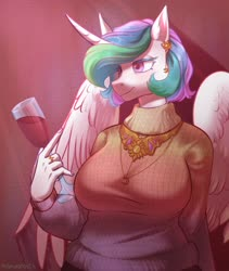 Size: 3290x3898 | Tagged: safe, artist:helemaranth, princess celestia, alicorn, anthro, alcohol, alternate hairstyle, chubby, clothes, ear piercing, earring, female, glass, jewelry, mare, overweight, peytral, piercing, ring, short hair, solo, sweater, wine, wine glass