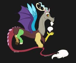 Size: 1280x1076 | Tagged: safe, artist:quincydragon, discord, draconequus, black background, simple background, solo