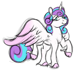 Size: 1400x1320 | Tagged: safe, artist:ramott, princess flurry heart, alicorn, pony, cloven hooves, female, mare, no pupils, older, older flurry heart, simple background, solo, spread wings, unshorn fetlocks, white background, wings