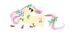 Size: 711x339   Tagged: safe, artist:a-chatty-cathy, fluttershy, pony, unicorn, leak, spoiler:g5, female, flower, flower in hair, fluttershy (g5), g5, hooves, mare, simple background, transparent background, unicorn fluttershy, vine