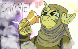 Size: 1920x1200 | Tagged: safe, artist:brainiac, derpibooru exclusive, oc, oc:piper, fallout equestria, bell, frog (hoof), game of thrones, hoof fluff, horseshoes, nun, raider, shame, solo, text, underhoof