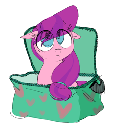 Size: 1260x1386 | Tagged: safe, artist:hattsy, lily longsocks, earth pony, pony, bag, box, cute, drawthread, eye clipping through hair, female, filly, floppy ears, heart, lunch bag, pack, pony in a box, simple background, solo, white background