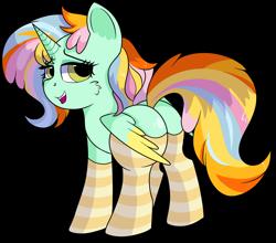 Size: 1280x1126 | Tagged: safe, artist:rainbowtashie, cheerilee, ms. harshwhinny, spitfire, trixie, oc, oc:princess sincere scholar, alicorn, pony, adorable face, alicorn oc, alicorn princess, butt, clothes, commissioner:bigonionbean, cute, female, fusion, fusion:princess sincere scholar, mare, meme, plot, seductive pose, socks, solo, striped socks, sultry pose, writer:bigonionbean