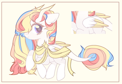 Size: 2350x1620 | Tagged: safe, artist:cloudsweet112, oc, oc:rainbow dreams, pegasus, pony, adopted, female, hair over one eye, horn, leonine tail, multicolored hair, one hoof raised, rainbow hair, ribbon, two toned wings, wings