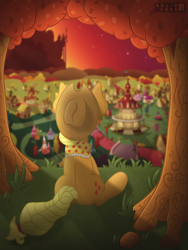 Size: 4000x5333 | Tagged: safe, artist:sol-r, applejack, the last problem, absurd resolution, canterlot, clothes, facing away, granny smith's scarf, older, older applejack, ponyville, ponyville town hall, rear view, scarf, sitting, solo, tree, windmill