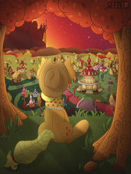 Size: 4000x5333 | Tagged: safe, alternate version, artist:sol-r, applejack, the last problem, absurd resolution, canterlot, clothes, end of ponies, facing away, granny smith's scarf, older, older applejack, ponyville, ponyville town hall, rear view, scarf, sitting, solo, tree, windmill