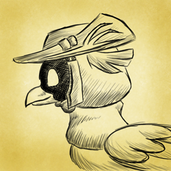 Size: 750x750 | Tagged: safe, artist:rockhoppr3, oc, classical hippogriff, hippogriff, avatar, hat, hood, monochrome, solo, tricorne
