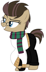 Size: 928x1455 | Tagged: safe, artist:celestial-rue0w0, artist:leiloaf, oc, oc only, oc:time liz, earth pony, pony, base used, clothes, commission, female, fingerless gloves, glasses, gloves, grin, jeans, mare, pants, raised eyebrow, raised hoof, scarf, simple background, smiling, smug, solo, sweater, transparent background