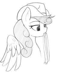 Size: 601x717   Tagged: safe, artist:anearbyanimal, edit, strawberry sunrise, pegasus, pony, /mlp/, cowboy hat, female, hat, lidded eyes, mare, monochrome, mouth hold, rope, simple background, solo, stetson, white background