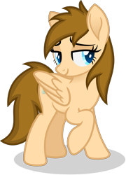 Size: 2609x3617   Tagged: safe, artist:peahead, oc, oc only, oc:stellar winds, pegasus, pony, bedroom eyes, blue eyes, female, folded wings, lewd, lidded eyes, mare, raised hoof, simple background, smiling, solo, transparent background, vector, wings
