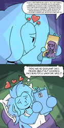 Size: 1000x2000 | Tagged: safe, artist:rawrienstein, maud pie, trixie, equestria girls, bed, bed hair, cellphone, comic, female, heart, lesbian, mauxie, phone, shipping
