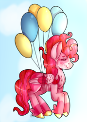 Size: 871x1219 | Tagged: safe, artist:darkheartmlp, pinkie pie, pegasus, pony, leak, spoiler:g5, balloon, bound wings, female, floating, flying, g5, mare, pegasus pinkie pie, pinkie being pinkie, pinkie pie (g5), race swap, redesign, then watch her balloons lift her up to the sky, wings