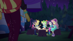 Size: 1920x1080 | Tagged: safe, screencap, applejack, fluttershy, rainbow dash, rarity, sci-twi, sunset shimmer, twilight sparkle, equestria girls, equestria girls series, sunset's backstage pass!, spoiler:eqg series (season 2), food, marshmallow, shoes, sneakers, tree stump