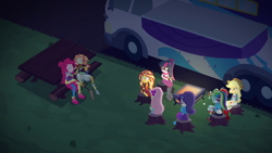 Size: 1920x1080 | Tagged: safe, screencap, applejack, fluttershy, pinkie pie, rainbow dash, rarity, sci-twi, sunset shimmer, twilight sparkle, equestria girls, equestria girls series, sunset's backstage pass!, spoiler:eqg series (season 2), actual sunset shimmer, food, humane five, humane seven, humane six, marshmallow, shoes, sneakers, tree stump