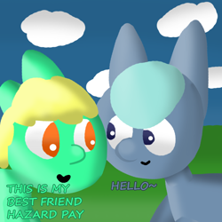 Size: 1000x1000 | Tagged: safe, artist:artdbait, oc, oc:goldy, oc:hazard pay, earth pony, series:goldy and hazard, amber eyes, best friends, cloud, dark blue eyes, female, goldy the pony, green fur, hello, hello hazard pay, introduction, light blue hair, mare, simple background, simple shading, smiling, solo, yellow mane