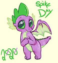 Size: 1200x1300 | Tagged: safe, artist:tijopi, spike, dragon, crossed arms, cute, fangs, male, simple background, smiling, solo, spikabetes, spike appreciation day, spread wings, winged spike, wings