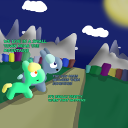 Size: 1000x1000 | Tagged: safe, artist:artdbait, oc, oc:goldy, oc:hazard pay, earth pony, series:goldy and hazard, amber eyes, best friends, city, cityscape, cloud, dark blue eyes, female, green fur, happy, i just don't know what went wrong, introduction, light blue hair, mare, mountain, road, simple background, simple shading, smiling, sun, yellow mane