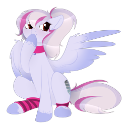 Size: 657x657 | Tagged: artist needed, safe, oc, oc only, oc:windbreaker, pegasus, pony, choker, female, hoof over mouth, leg warmers, mare, ponytail, simple background, sitting, solo, transparent background